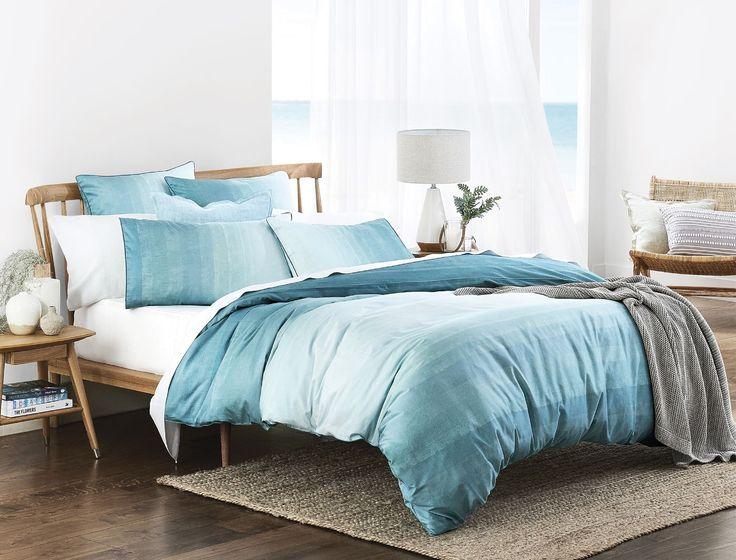 'Oberon' quilt cover, from $119.95, standard pillowcase, $34.95/pair, European pillowcase, $39.95/each, all in Teal, Bed Bath N' Table.