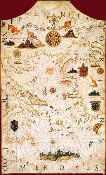 Troie, au-delà des mers, aux confins du monde grec  Alvise Gramolin, Carte de la mer Égée et de la mer de Marmara. Venise, 1624  Carte-portulan manuscrite et enluminée sur parchemin, 65 x 107 cm  BnF, Cartes et Plans, Ge B 550 Rés.