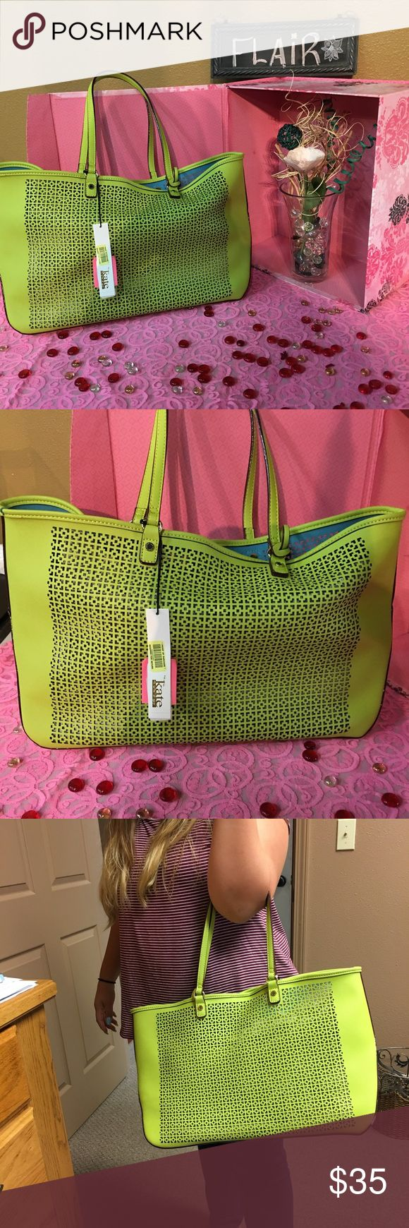 Kate Landry purse Green we've with gold hardware Kate Landry purse large type tote😃NWT! Cute,cute,cute Kate Landry Bags Shoulder Bags