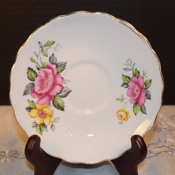 Clare Rose Saucer Vintage Pink Yellow by ShellysSelectSalvage
