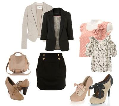 Falda Negra Con Blusa Y Blazer Negro Outfits Pinterest