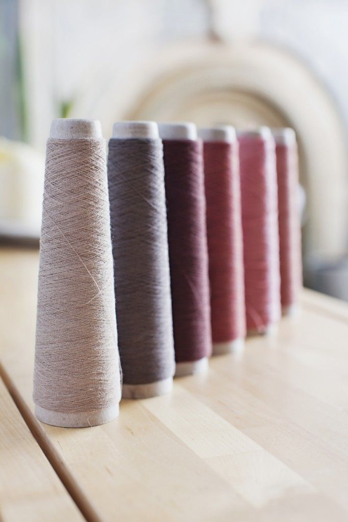 Yarns from Habu Textiles made from paper, stainless steel, silk, wool and copper.