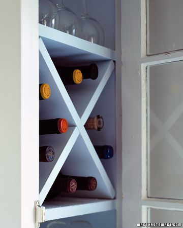 With two boards, you can turn a shelf into a wine rack. Use a space that is square, deep enough to hold bottles on their sides, and at least 14 inches tall and wide.