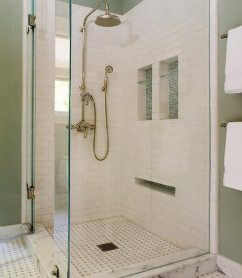 Bathrooms With White Tile Showers: 1000+ Images About White Subway Tile Bathrooms On