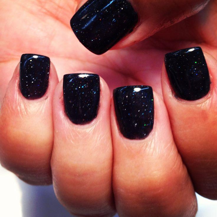 Sculptured black sparkle acrylic nails