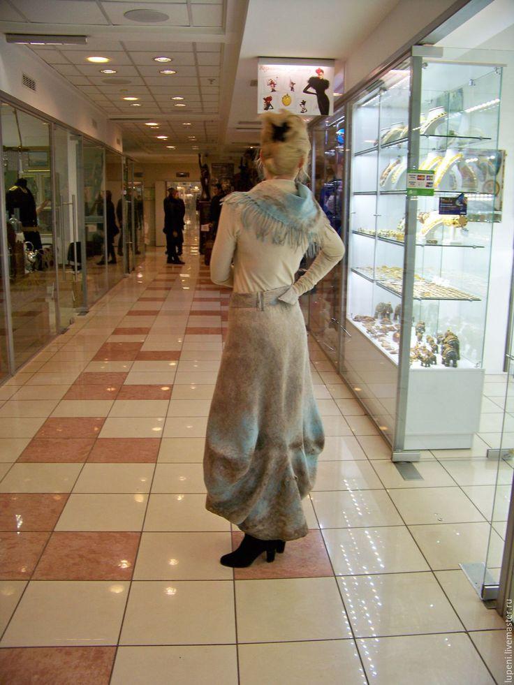 """Купить Юбка в стиле бохо """"Бирюза в оправе"""" - бежевый, абстрактный, стиль бохо, юбка в пол"""