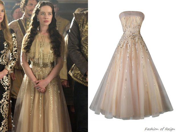 """My favorite reign dress! In the episode 2x03 (""""Coronation"""") Lady Lola wears this vintage 1950s Mildred Moore Sequined Tulle Gown from Gossamer Vintage. Worn with Moyna capelet, Elizabeth Cole earrings."""