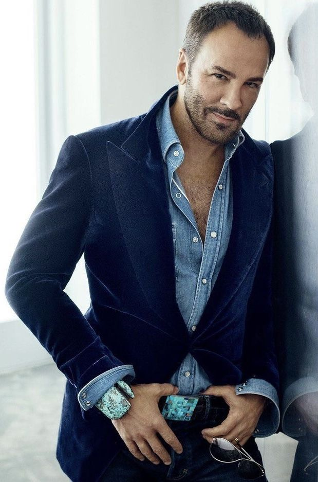 c297762f Tom Ford in Tom Ford for a GQ spread. Featuring a velvet navy blazer denim