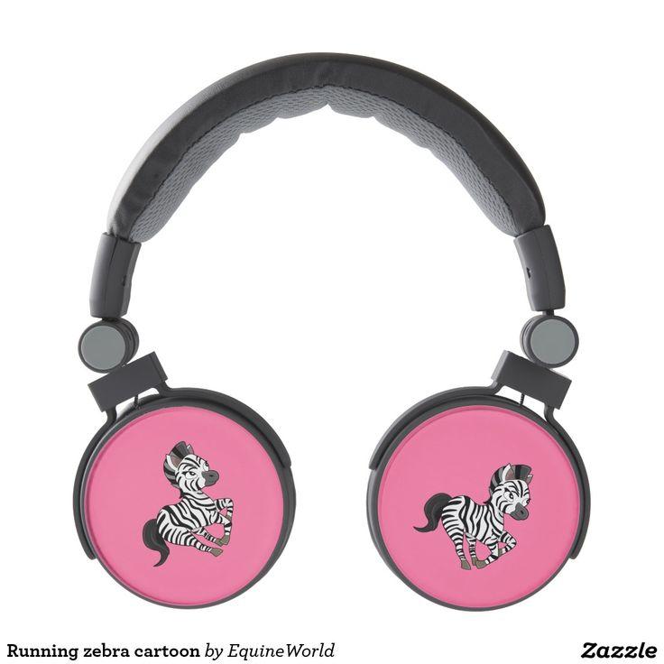 Running zebra cartoon headphones