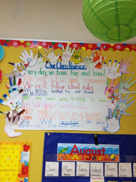 """Love the idea of the rules being displayed as a """"class promise"""" with the students' hands bordering it."""