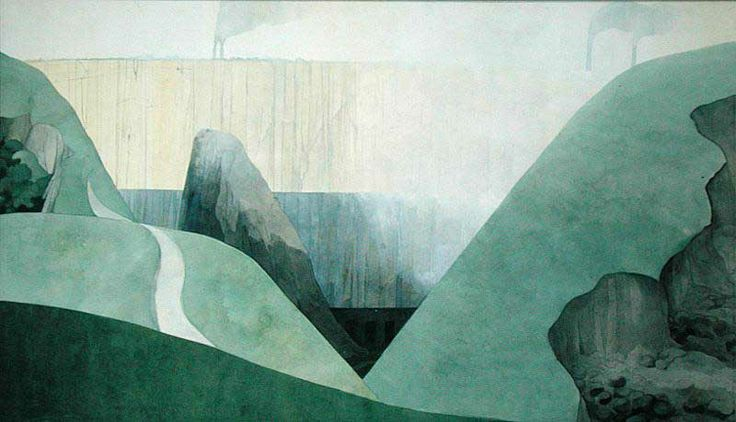Edward Burra. 'A Quarry Near Buxton'. Watercolour and pencil on paper. 1970.