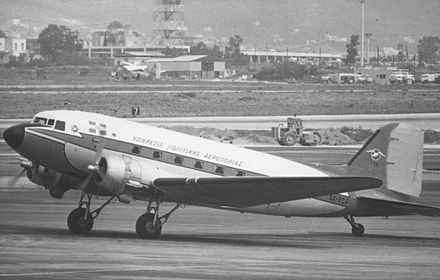 Douglas DC-3 of the Hellenic CAA at Ellinikon Airport in April 1973