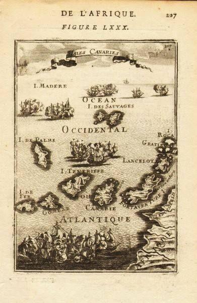 Antiguo portulano de las Islas Canarias.