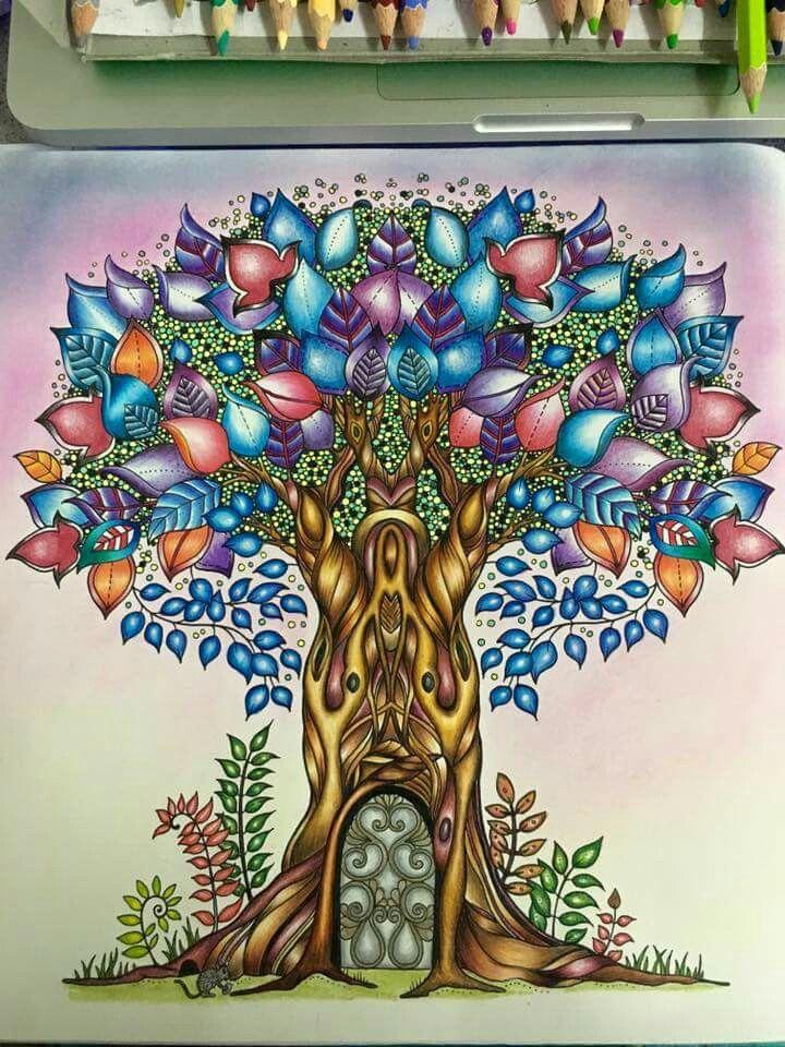 Tree Enchanted Forest RainbowPencilIllustrationJoanna BasfordJohanna Basford Secret GardenPrismacolorAdult ColoringColoring BooksZentangles