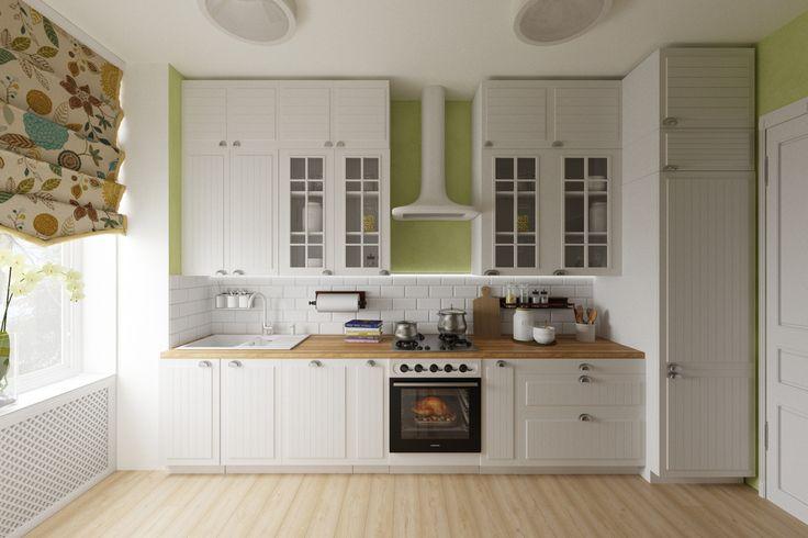 Кухня. Белая и зеленая гамма. Мебель ИКЕА.  Kitchen. IKEA furnitures. Green & white colors.