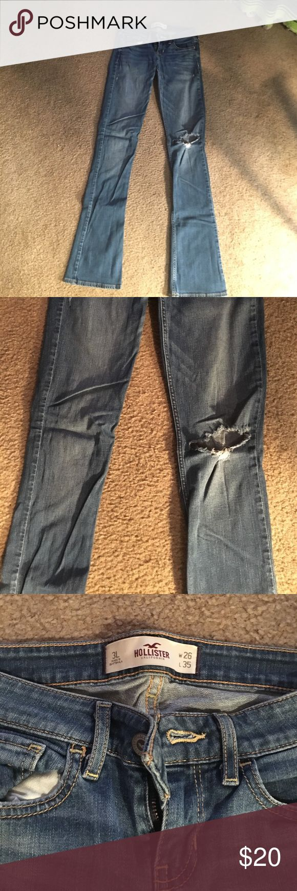 Hollister boot cut jeans Dark wash denim with one holy knee, the bottoms are a little frayed but they have been taken care of. Size 3 long. Very good used condition!! Hollister Jeans Boot Cut