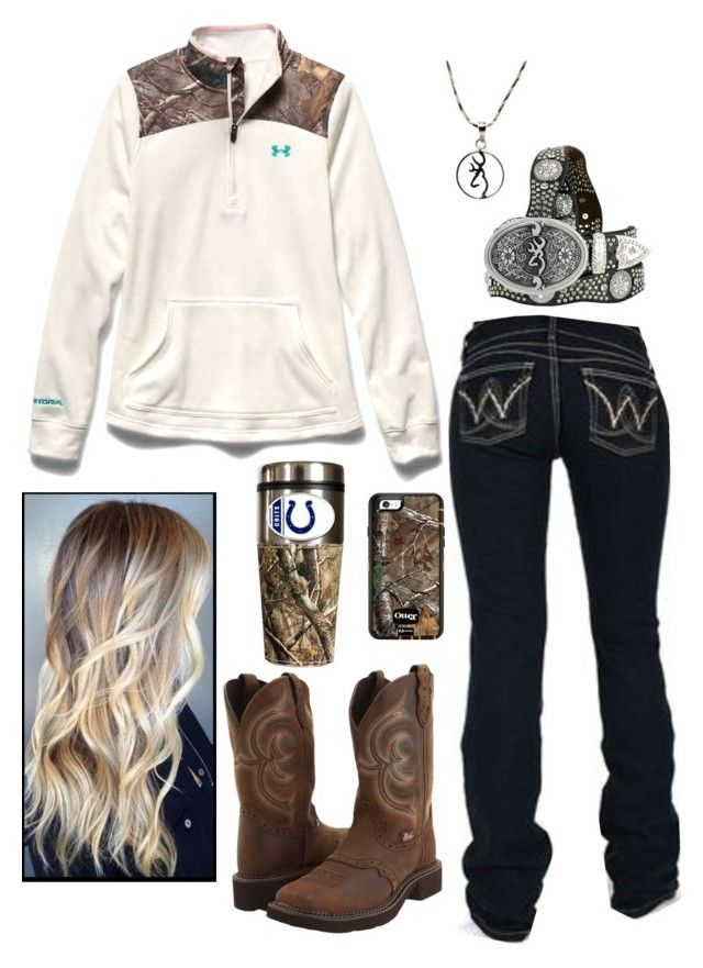 """Untitled #630"" by princess-raygen ❤ liked on Polyvore featuring Justin, Wrangler, Nocona, Under Armour and Realtree"