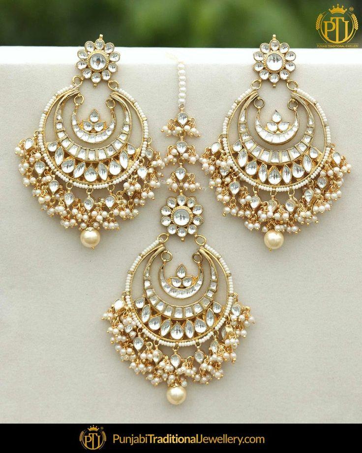 Gold finished kundan pearl earring tikka set punjabi