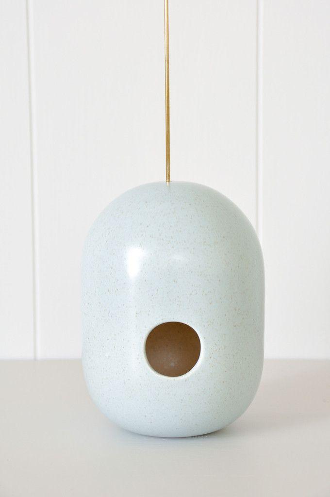 Birdhouse by New Zealand ceramic artist Gidon Bing. In store at Koromiko.