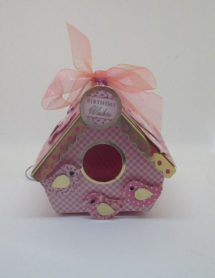 Bird House 7 Birthday Wishes. Pink with gold foiling. 7x7x6cms. The little bird house has a front opening, could have pot pourri put in it. Is essentially an extra gift for that special person. Has a hanger on the top. £3.50 Please follow and like us: