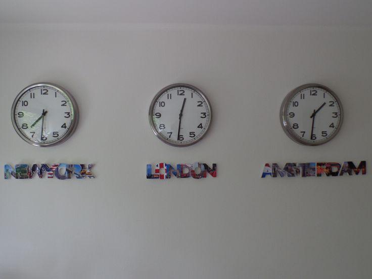 klokken wereld tijd, new york, london, amsterdam