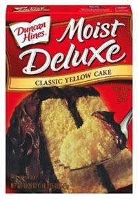 Homemade Yellow Cake Mix    3 cup Flour  2 cup Sugar  1 tablespoon Baking Powder  1/2 cup Non-Fat Dry Milk  Combine all ingredients and store in an airtight container or Ziploc bag.   To Use:   1 1/4 cup water  1 1/2 teaspoon Vanilla  1/2 cup Butter (soft)  3 Eggs  Bake @ 350  I haven't tried this recipe yet, but it sounds yummy!