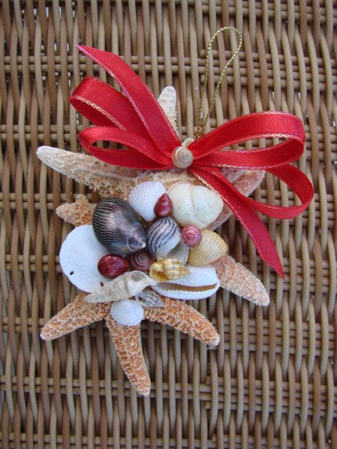 Starfish seashell christmas ornament would look so good for Christmas tree ornaments made from seashells