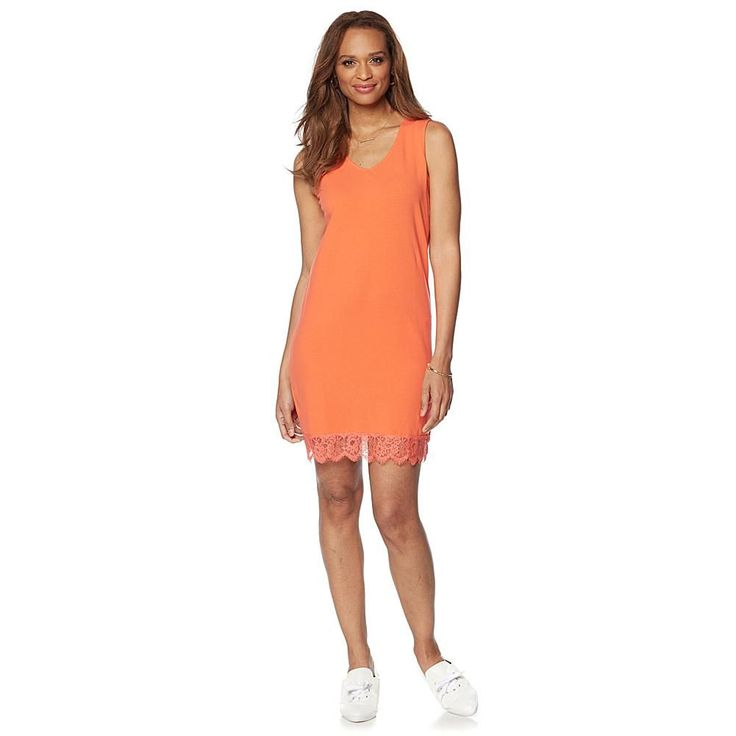 Wendy Williams Sleeveless Knit V-Neck Dress with Lace Trim - Orange
