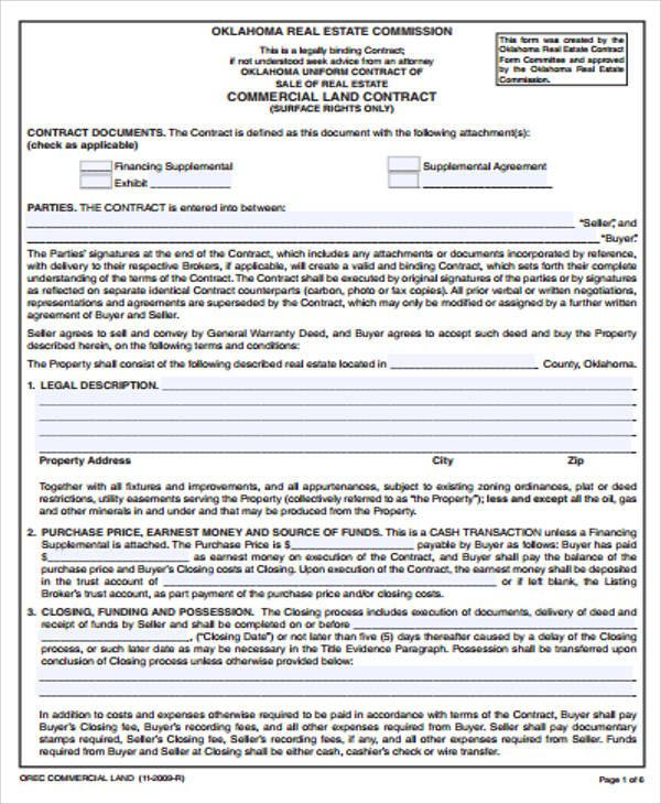 Land Contract Templates 10+ Printable Word  PDF Formats
