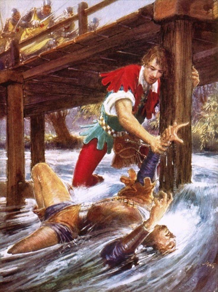 Robin Hood Rescuing Little John from a River by John Millar Watt.