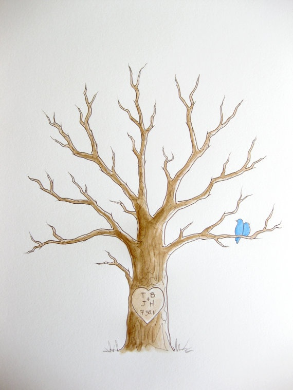 SMALL Wedding Tree Guest Book Thumbprint Tree 11 x 14 by PaperTwig, $59.00