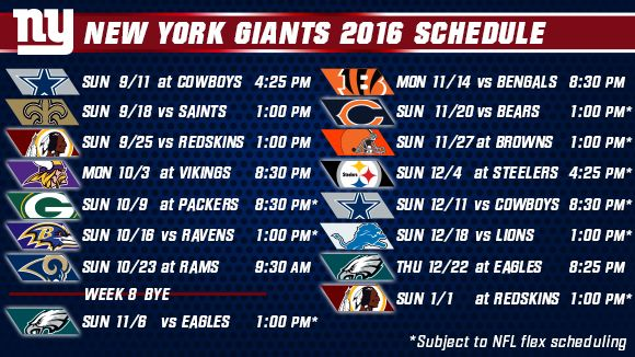 New York Giants 2016 Schedule Announced! Let's go Big Blue!
