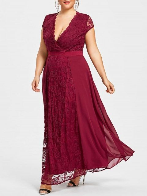 Plus Size Open Back Flowing Prom Dress - RED WINE XL ...