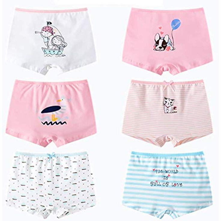 LeQeZe 6er Pack Kinder Mädchen Pantys Unterhose Hipster Mädchen Baumwolle Schl…
