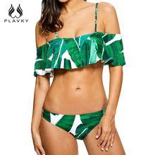 PLAVKY 2017 Sexy Bandeau Hombro Volantes Biquini De Hoja De Palma Tropical Swim Wear Traje de Baño traje de Baño Bikini Mujeres(China (Mainland))