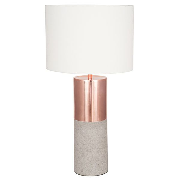 copper and concrete lamp with handloom white shade lighting accessories chandelier table lampbedroom - Bedroom Table Lamps