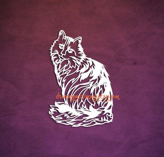 Cat Paper Cutting Template, Cat Papercut, Cat Cut Out, Cat Cutting, Cat Template, PDF, SVG, Commercial, Personal use PT-062