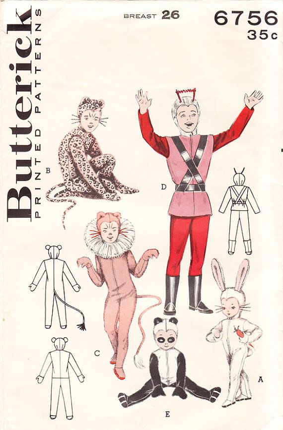 1950s Space Suit or Spaceman Costume and Animal Costumes - Unisex - Vintage Butterick Sewing Pattern 6756 - Breast 26