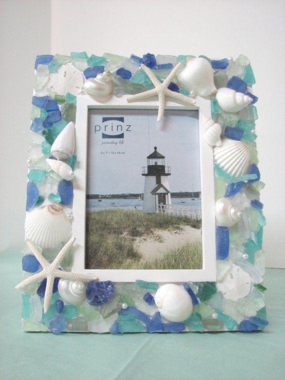 Seaglass Frame Get your bulk Sea Glass supplies here https://www.etsy.com/listing/89722268/bulk-sea-glass-1-lb-of-bulk-seaglass?