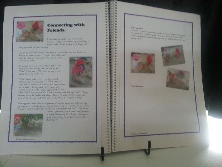 Digitally produced learning story placed in child's portfolio.