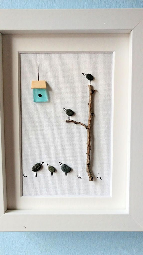 Unframed 5 by 7 by Jenny Love bird pebble art birthday