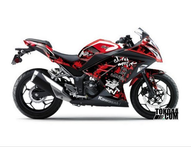 Decal Sticker Modifikasi Kawasaki Ninja 250 Fi Merah - Grafitti Black Red