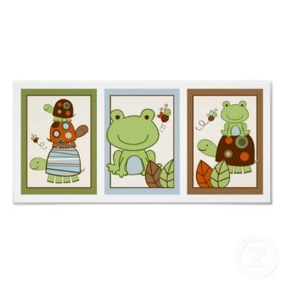 Laguna Turtle Frog Nursery Wall Art Print by little_prints