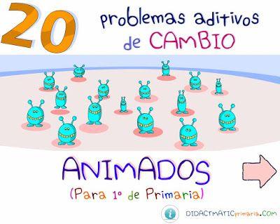 1º PROBLEMAS DE SUMAS Y RESTAS: Problemas aditivos de cambio animado ~ Juegos gratis y Software Educativo
