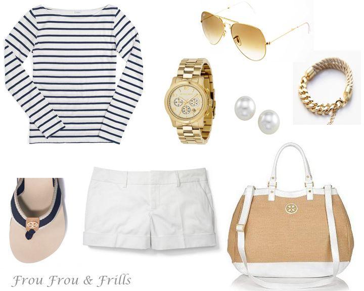 Cute beach outfit , nautical outfit , club monaco shorts , tory burch sandals , tory burch purse , michael kors watch , gold sunglasses , pearls , gold bracelet
