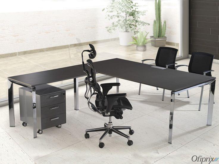 mesa de despacho serie link chrome - Mesas De Despacho Modernas