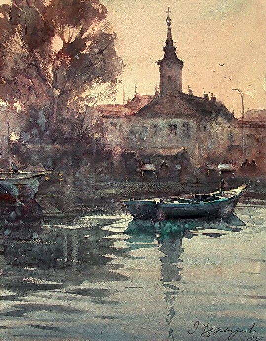 Dusand Jukaric, Morning in Danube, Zemun, Watercolor 38x49 cm