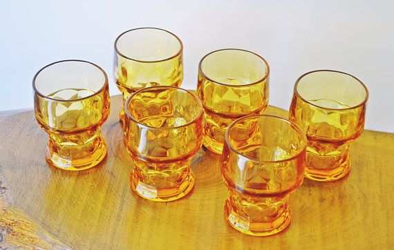 Amber Colour Glasses Thumbprint Design Tumblers Continental