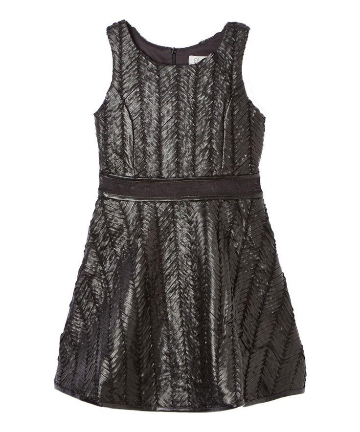 Love this Elisa B. Black Zig-Zag Stitch A-Line Dress - Girls by Elisa B. on #zulily! #zulilyfinds