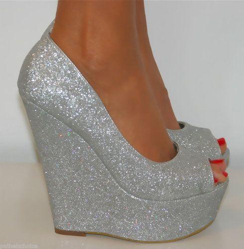 De Blossom Silver Glitter Peep Toe High Heel Wedge Size 7 5   eBay